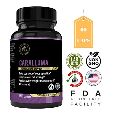 iPro Organic Supplements Caralluma Fimbriata Cactus 60 Potent Capsules Control Appetite Suppress Hunger Burn Fat Lose Weight Boost Energy Metabolism Booster Natural Diet Slimming Pills for Men & Women