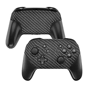 eXtremeRate Soft Touch Faceplate and Backplate NS Switch Pro Controller, Black Silver Carbon Fiber Patterned DIY Shell Housing Case for NS Switch Pro Controller - Controller NOT Included