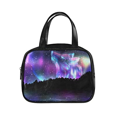 8af98a5c8f5b Amazon.com: Tote Bags Howling Wolf Spirit And Aurora Borealis For ...
