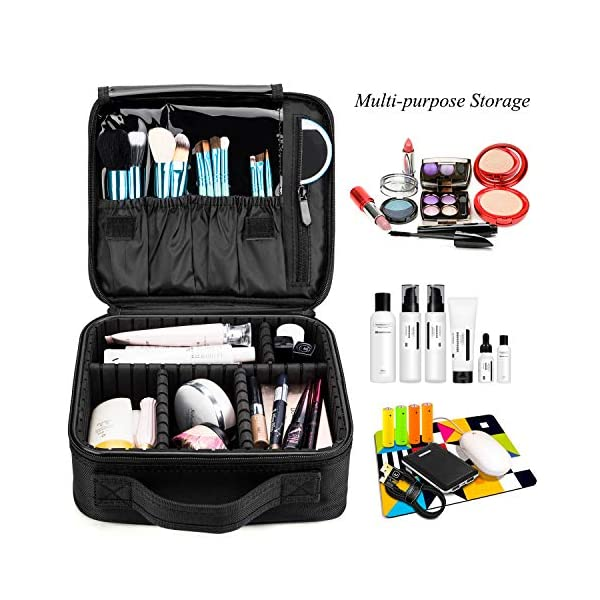 Makeup Bag Travel Cosmetic Bag Nylon Cute Makeup Case Organizer Large Portable Cosmetic Train Case with Removable Dividers for Women Carrying Beauty Products Make Up Tools Toiletry Jewelry