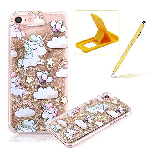 Liquid Hard Case for iPhone SE,Gold Glitter Clear Case for iPhone 5S,Herzzer Creative Funny Cartoon Unicorn Pattern Flowing Floating Stars Quicksand Sparkly Crystal Back Cover Case