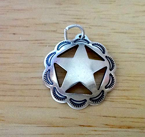 - Sterling Silver 21mm Western Sheriffs Star Badge Charm Jewelry Making Supply, Pendant, Sterling Charm, Bracelet, Beads, DIY Crafting and Other by Wholesale Charms