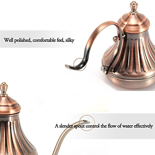 Stainless Steel Hand Drip Kettle 420ML Bronze Coffee Pot Slender Mouth Royal Court Hand Punching Coffee Tea Pot Coffeemaker Accessories