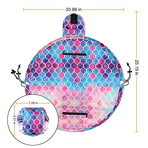 Cosmetic Bag Lazy Makeup Organizer, Fintie Waterproof Portable Drawstring Large Capacity Travel Toiletry Storage Pouch Case for Women Girls, Moroccan Love by Fintie (Image #7)