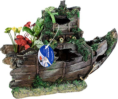 Shipwreck Bow Aquarium Ornament - Pen Plax Sunken Gardens Shipwreck Bow, Large