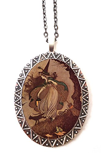 Edwardian Witch Necklace Pendant Halloween Black Cat Witchcraft Illustration -