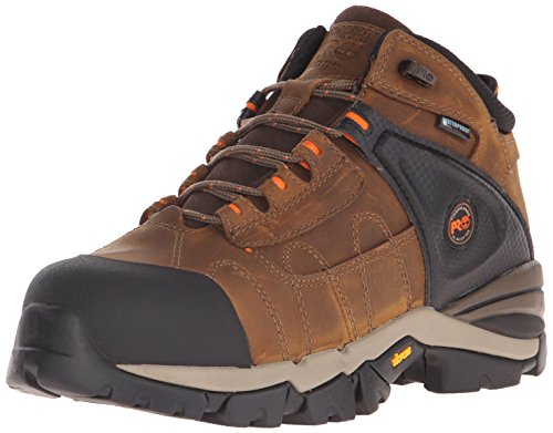 Timberland Pro Mens 4 Hyperion XL Alloy-Toe Waterproof Work Boot Brown Distressed Leather