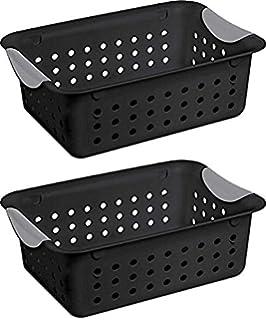 Sterilite Ultra 16249006 Medium Black Basket, 2 Pack