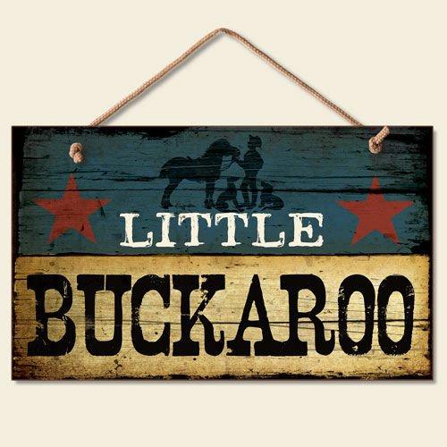 New LITTLE BUCKAROO SIGN Cowboy Plaque Boy's Room Decor WESTERN Blue Star ART (Kids Western Decor)