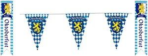 Large Oktoberfest Bavarian Flag Pennant Banner | 100 Feet Long and 2 Wall or Doorway Pennants Oktoberfest Set