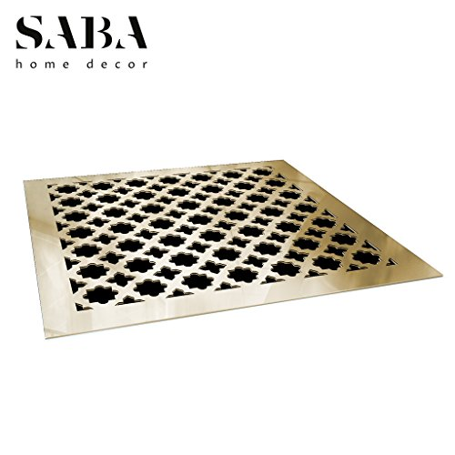 Saba Air Vent Cover Grille - Acrylic Fiberglass 12'' x 12'' Duct Opening (14'' x 14'' Overall) Gold Mirror Finish Register Covers for Walls and Ceilings NOT for Floor USE, Venetian by SABA Home Decor (Image #1)