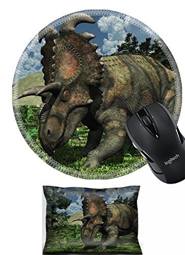 - Liili Mouse Wrist Rest and Round Mousepad Set, 2pc Wrist Support Prehistoric scene featuring an albertaceratops a dinosaur that lived during the Late Cretaceous period IMAGE ID 9536590