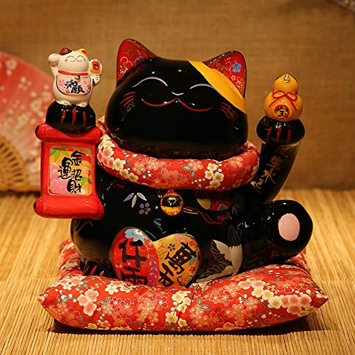 GE&YOBBY Large Ceramic Piggy Bank,Black Maneki Neko Lucky Cat Piggy Bank Best Gift for Business Opening,feng Shui Decor-b 26x22x26cm(10x9x10inch)