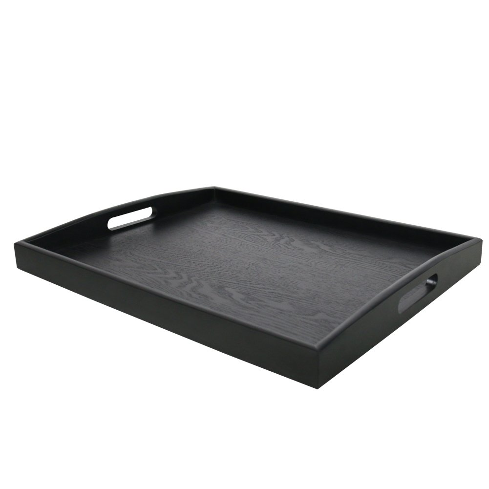 DILLMAN Serving Tray Large Black Wood Rectangle Food Tray Butler Tray Breakfast Tray With Handles (Large)