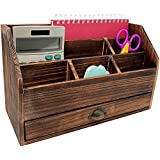 Rusoji Decorative Vintage Style Distressed Wood Desktop Home Office Supply Caddy and Mail Sorter with Drawer, Brown