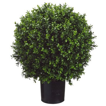 (26 Inch Tall Boxwood Ball-Shaped Artificial Topiary w/Pot Indoor/Outdoor)