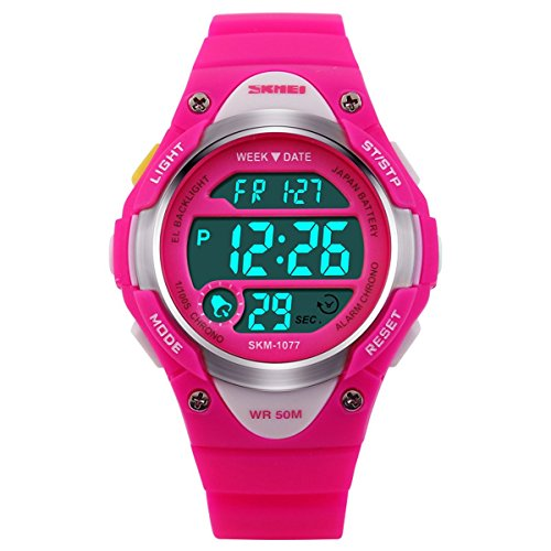 BesWLZ Sports Kids LED Digital Alarm Stopwatch Waterproof Wristwatch Children's Dress Watches Pink