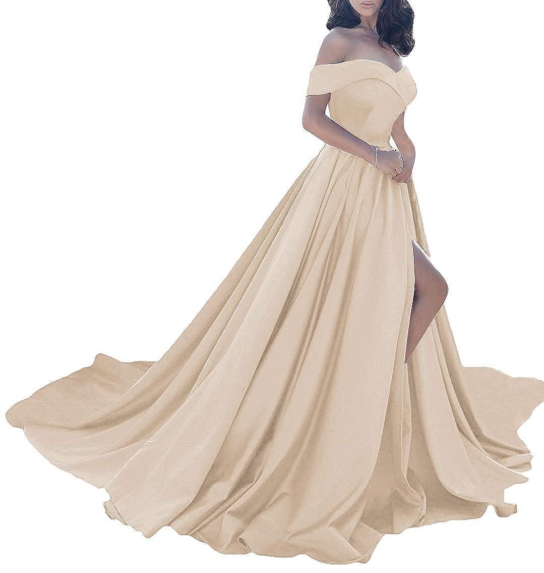 Champagne MorySong Women Elegant Off The Shoulder Prom Dress Side Split Long Evening Gown