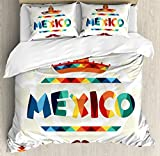 Mexican Decorations Duvet Cover Set by Ambesonne, Mexico Traditional Aztec Motifs and Sombrero Straw Hat Moustache Graphic, 3 Piece Bedding Set with Pillow Shams, Queen / Full, Multi