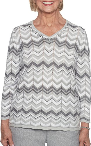 Alfred Dunner Women's Petite Zig Zag Biadere, Charcoal, (Alfred Dunner Nylon Sweater)