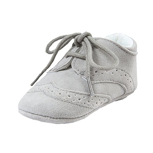 (Baby Lace Up Brogue Shoes Medallion Wingtip Nubuck Crib Dress Shoe Moccasins Grey Size M)