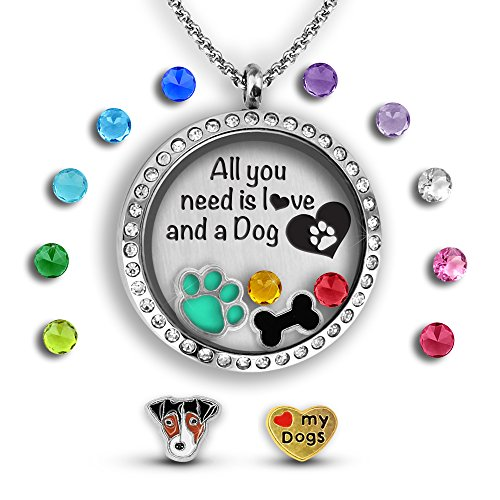 (A Touch of Dazzle for a Dog Lovers   Dog Mom Gifts Dog Lover Gifts for Women for Dog Mom Dog Jewelry for Women Gifts for Dog Lovers   Floating Charm Necklace for Dog Grandma)