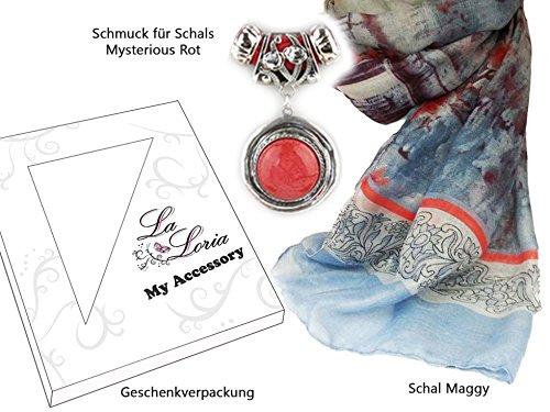 La Loria bijoux set: Écharpe et bijoux pour foulards - Echarpe Collier rouge - cadeau pour les femmes