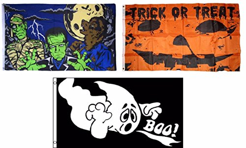 ALBATROS 3 ft x 5 ft Happy Halloween 3 Pack Flag Set #25 Combo Banner Grommets for Home and Parades, Official Party, All Weather Indoors Outdoors ()