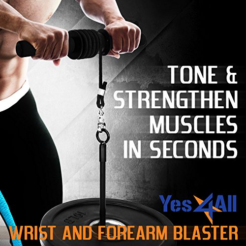 Yes4All Wrist and Forearm Blaster – Wrist Roller & Forearm Roller for Training, Workout – Wrist / Arm Blaster – Fit Standard 1 inch Weight Plates