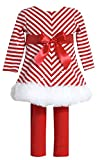Bonnie Jean Baby Girl's Chirstmas Chevron Sequined Dress and Legging Set. Red, 12M