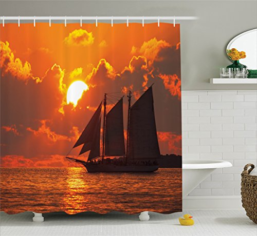 Ambesonne Sailboat Decor Shower Curtain Set, A Boat Sailing in Front of A Sunset in Key West, Florida Sundown Tropical, Bathroom Accessories, 84 Inches Extralong, Orange Grey