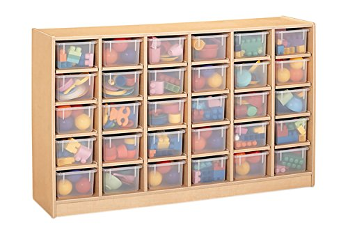 Offex Classroom Organizer 30 Cubbie-Tray Mobile Storage Unit - with Clear -