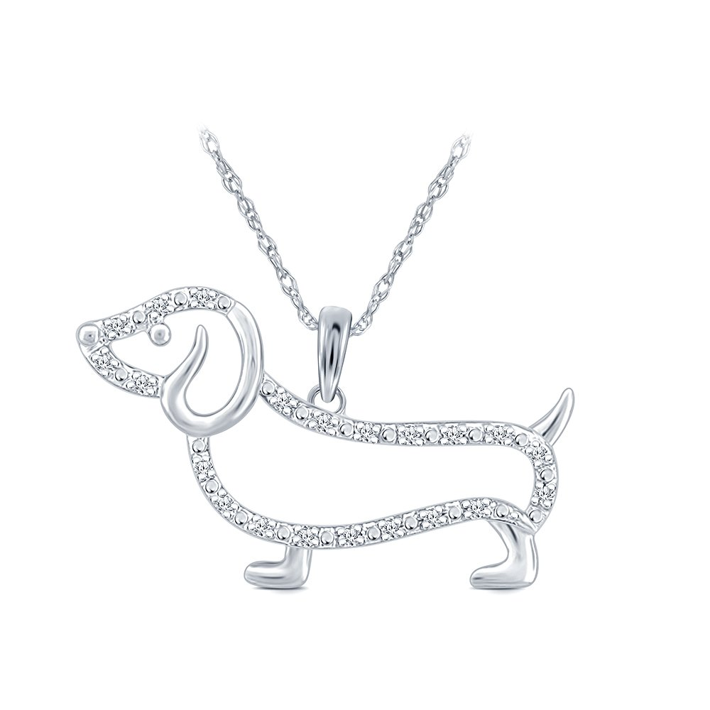 1/10 cttw Round White Natural Diamond 10K White Gold Dachshund Dog Pendant La Joya