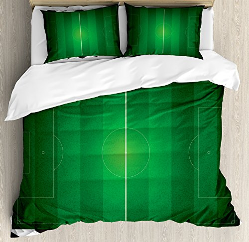 Soccer King Size Duvet Cover Set by Ambesonne, Football Field with Hexagonal Ball Pattern Frame Sports Activity League Match, Decorative 3 Piece Bedding Set with 2 Pillow Shams, Black White Green by Ambesonne