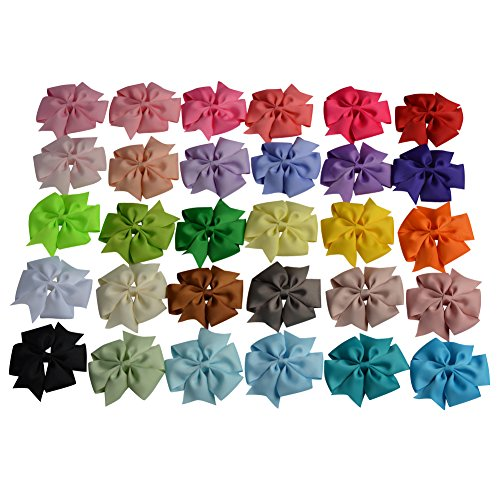 Price comparison product image ShungFun 4in Boutique Pinhweel Hair Bows Clips Grosgrain Ribbon Barrettes Accessories for Keen Baby Girls 30pcs