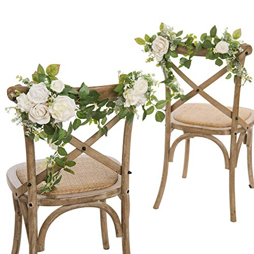 Lings moment Set of 2 Wedding Chair Decoration for Bride Groom,Flower Swags for Wedding Arch,Aisle Pew Decoratons for Wedding Ceremony