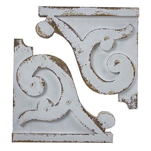 American Art Décor Shabby Chic Wooden Corbels Shelf Brackets Farmhouse Decor (Set of 2 - White)