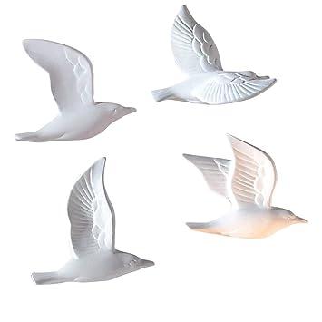 Beliebt Amazon.de: Pureday Wanddeko Möwen in 3D-Optik Keramik Weiß 5 Stück FT36