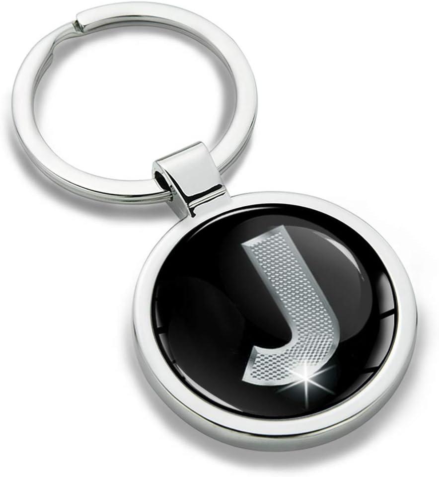 Skino Llavero con Iniciales Personalizadas del Alfabeto de Metal en 3D Carta de Regalo M KK 13 Plata para Hombres y Mujeres