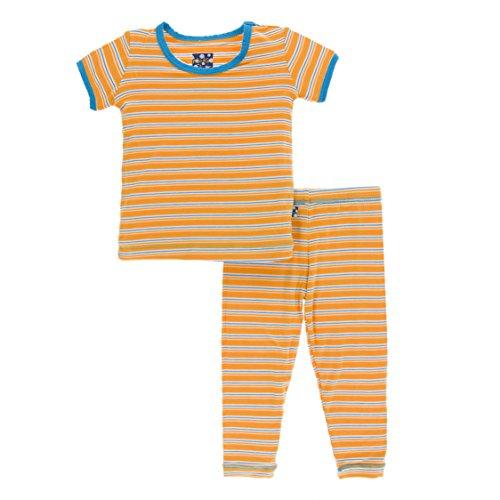 Kickee Pants Little Boys Print Short Sleeve Pajama Set, TAMARIN Brazil Stripe, 12-18 Months - Kicky Pants Baby Clothes