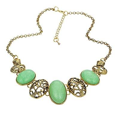 YAZILIND Ethnic Style Bronze Oval Stone Bib Statement Necklace Women whiaEg0J