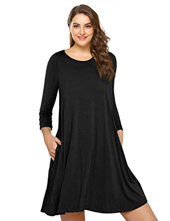 Amz Plus Womens Plus Size Long Sleeve Casual Swing Tunic Dress With