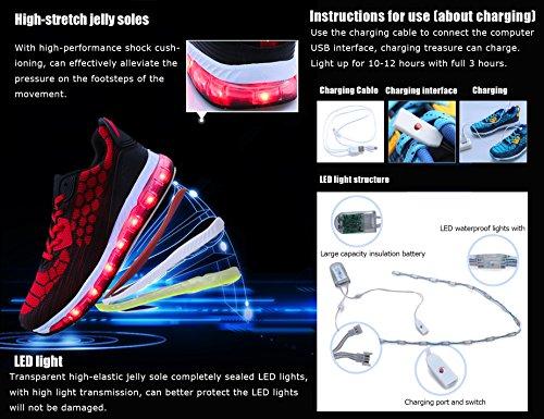 Mr.Ang Unisex Muchacha de los Muchachos de La Carga del USB LED de Luz Luminosa Zapatillas Deporte Patín G08 Negro Rojo