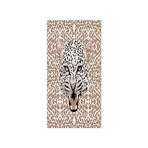Decorative Privacy Window Film/Roaring Leopard Portrait with Rosettes Wild African Animal Big Cat Graphic/No-Glue Self Static Cling for Home Bedroom Bathroom Kitchen Office Decor Cocoa Beige Black ()
