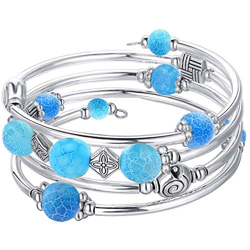 ANGELFLY Chakra Turquoise Beaded Boho Wrap Bangle Bracelets - Ermish Stackable Pulseras de Mujer Bracelet for Women, Teen Girl, Boy Gift (C-Sky Blue)