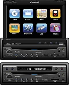 Fahrenheit TID-894NRBT In Dash Source Unit DVD Player Single DIN with 7 - Inch Touchscreen Flip Out Monitor with Bluetooth