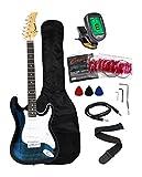 Crescent EG39-TB 39 Inch Electric Guitar Starter Kit, Transparent Blue Color (Includes CrescentTM Digital E-Tuner)