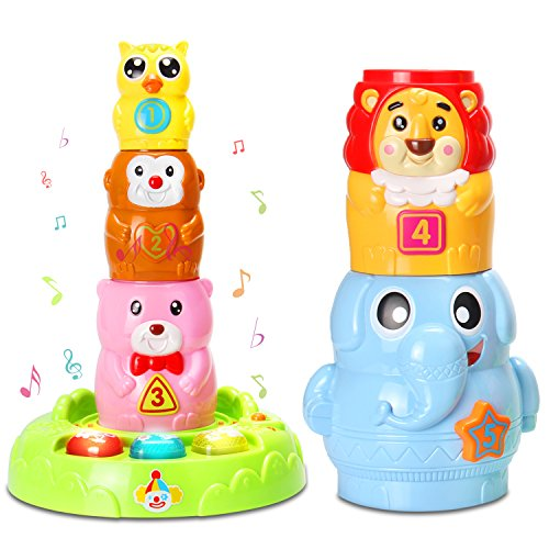 HOMOFY Baby Toys 6 to 12 months up,Stacking & Nesting Cups with Music and Light,Numbers&Animals Games The Best Early Educational Toddlers Toy Circus Animal Stacking Toys for Kids New Gifts by HOMOFY