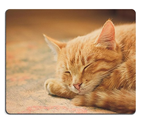 Liili Mouse Pad Natural Rubber Mousepad peaceful orange tabby male kitten curled up sleeping Photo 14165960
