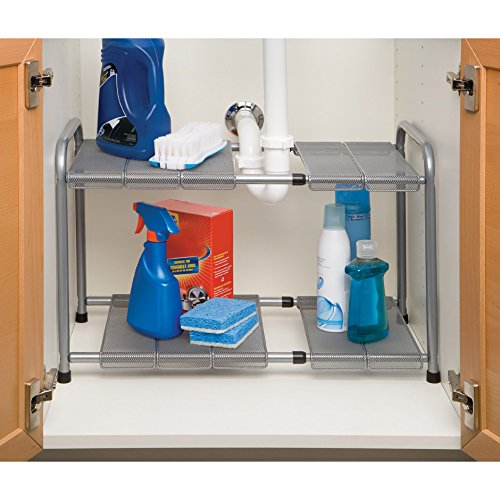 Seville Classics Expandable Under-Sink Shelf with Steel Mesh and Removable Panels